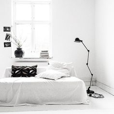 black and white room.