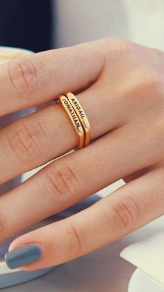 Our designers created our stackable rectangular name ring in gold plating with modern elegance in mind. Sleek lines define this beautiful band. Gold Jewelry Simple, Gold Rings Jewelry, Pandora Jewelry, Gold Plated Jewellery, Gold Plated Rings, Gold Earrings, Gold Necklace, Diamond Necklace Set, Diamond Jewelry