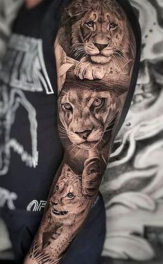 Tattoos for men Tattoo lion family design 20 Ideas Family Sleeve Tattoo, Girls With Sleeve Tattoos, Arm Sleeve Tattoos, Family Tattoos, Mom Tattoos, Forearm Tattoo Men, Japanese Sleeve Tattoos, Tattoos For Guys, Music Tattoos