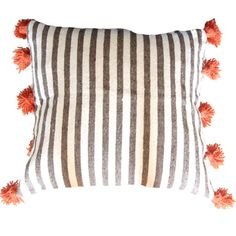 Striped Moroccan cotton pillow cover  gray orange by atelierBOEMIA