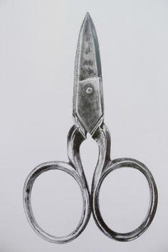 'Scissors Closed' by jan brewerton Graphite on paper 12cm x 21cm (image size)