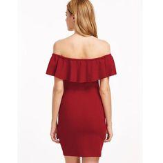Vintage Off-Shoulder Rose Dress – Fray Sequin Midi Dress, Red Bodycon Dress, Simple Dresses, Elegant Dresses, Fitted Dresses, Red Fashion, Skirt Fashion, Types Of Dresses, Rose Dress