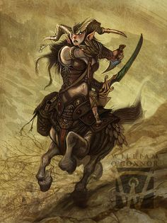 Lady Centaur By William O Conner Fantasy Races, Fantasy Rpg, Medieval Fantasy, Fantasy Artwork, Fantasy World, Character Portraits, Character Art, Character Design, Character Concept