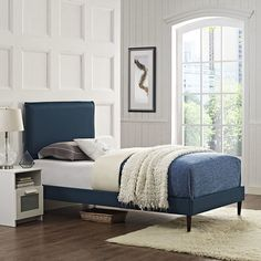 Modway Camille Twin Fabric Platform Bed with Round Tapered Legs in Azure