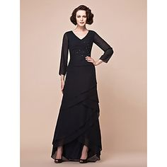 A-line Plus Sizes / Petite Mother of the Bride Dress - Black Asymmetrical 3/4 Length Sleeve Chiffon – USD $ 99.99