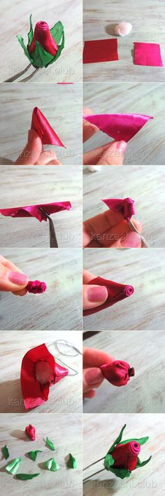 Мастер-класс на закрытый бутон розы канзаши из ленты 5 см. #kanzashi