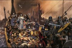 King Olaf Tryggvason,s last stand. Battle of Svolder, 999 or 1000. Painting by Angus Mcbride.