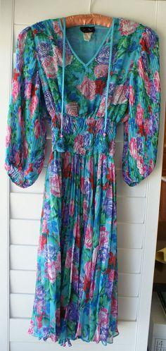 Diane Freis Original Georgette Dress- Vintage - Floral Print - Beaded Tassles #DianeFreis #Georgette #Cocktail