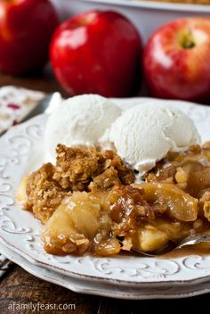 Apple Crisp ~ This is a great recipe! Easy and delicious! Serve warm with ice cream, I like a drizzle of caramel too. Thanks Martha!