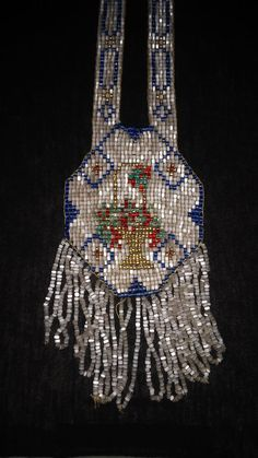 Aunt Beth's Handmade Flapper Bead Work Garden Basket Necklace