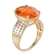 14K Yellow Gold Jalisco Fire Opal and Diamond Ring