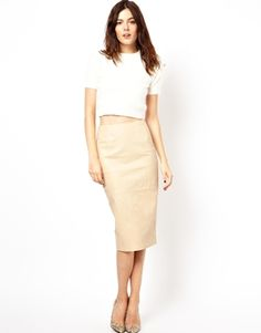 Image 1 ofASOS Pencil Skirt in Leather