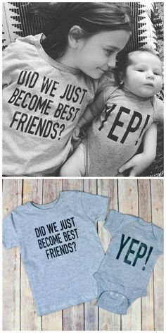 Did we just become best friends? Yep! I love these sister or brother matching shirt and onesie combos! So cute for a boy or girl with a new baby brother or sister #bff #ad