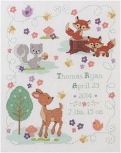 Bucilla ® Baby - Counted Cross Stitch - Crib Ensembles - Forest Friends - Birth Record Kit | Plaid Enterprises