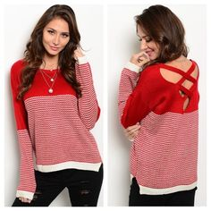Red & White Criss Cross Sweater Red and White Patterned Sweater. Criss Cross Detailing on the back. Perfect for Valentines Day❤️  85% Cotton 15% Acrylic Sizes S/M and M/L Available  Brand New with Tags Boutique Sweaters Crew & Scoop Necks