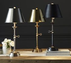 Oliver Accent Lamp #potterybarn. Like the idea of that much brass, not sure it will provide enough light for the bed area