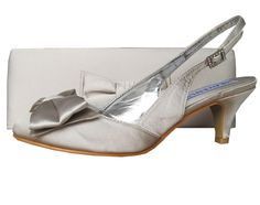 Twee Palomino Pale Silver Satin Slingback Ladies Shoes. #SilverWeddingShoes