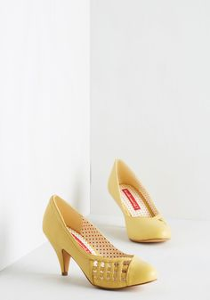 Style Down the Aisle Heel in Buttercup. Slip into these pale yellow heels from Bait Footwear for a look as sweet as your big days ceremony! #yellow #wedding #modcloth