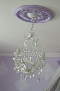 Averys 50 Shades of Purple Nursery, a pretty purple room lovingly created for our second daughter Avery Violet :), Nurseries Design: I pinned for the chandelier! 50 Shades, Shades Of Purple, Purple Ceiling, Purple Chandelier, Mini Chandelier, Purple Rooms, Girls Room Purple, Purple Walls, Girl Nursery