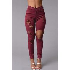 Yoins Burgundy Boyfriend Style High Waist Ripped Jeans ($25) ❤ liked on Polyvore featuring jeans, pants, burgundy, torn boyfriend jeans, destructed boyfriend jeans, high rise jeans, high-waisted jeans and high waisted jeans