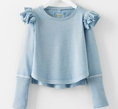 Patti Bustle Shoulder Top in Marine Blue Little Girl Fashion, Little Girl Dresses, Kids Fashion, Girls Dresses, Fashion Outfits, Toddler Outfits, Kids Outfits, Kid Styles, Kids Wear
