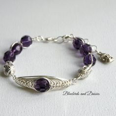 Deep Purple Beaded Bracelet by Bluebirdsanddaisies on Etsy