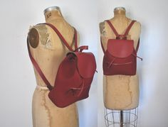 L.L. BEAN Leather Nylon Backpack Bookbag / Red knapsack by badbabyvintage on Etsy