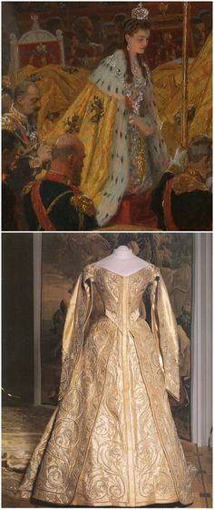 """Above: Detail from """"The Coronation of Emperor Nicholas II and Empress Alexandra Feodorovna,"""" by Laurits Regner Tuxen, 1898, oil on canvas. The State Hermitage Museum, St. Petersburg. Below: Empress Alexandra Feodorovna's coronation dress, Russia, 1896. Brocade, silk, silver thread, pearls, lace, silk ribbon. Moscow Kremlin Museums. CLICK FOR LARGER IMAGES."""