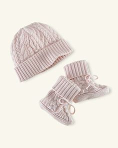 Cabled Cotton Hat  amp  Booties - Baby Girl Accessories - RalphLauren.com Baby  Girl 47c15e9f54b