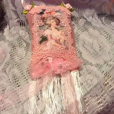 6 inch lavender scented sachet with image of by cindysvictorian