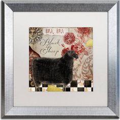 Trademark Fine Art Baa Baa Black Sheep Canvas Art by Color Bakery, White Matte, Silver Frame, Assorted