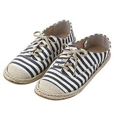 Muji / Navy × Stripe / Espadrille Sneakers