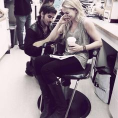 Colin O'Donoghue (Captain Hook) and Jennifer Morrison (Emma Swan) on the set of Once Upon A Time. #OUAT