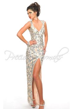 Precious Formals P8939 Nude Silver Sequin Evening Gown - This stunning dress  has a large 411cb2681c4a