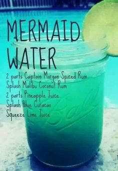 The Chic Technique: Mermaid Water drink recipe - Captain Morgan Spiced Rum, Malibu Coconut Rum, Pineapple Juice, Blue Curacao, Lime Juice Bar Drinks, Cocktail Drinks, Pool Drinks, Blue Cocktails, Beach Cocktails, Disney Cocktails, Sweet Cocktails, Malibu Coconut, Alcohol Drink Recipes