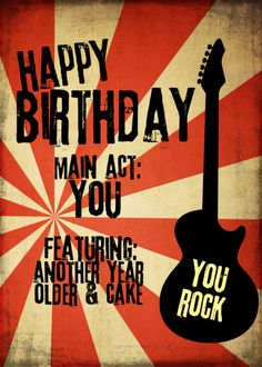 Personalize any greeting card for no additional cost! Cards are shipped the Next Business Day. Beatles Birthday, Happy Birthday Guitar, Happy Birthday Bouquet, Happy Birthday Vintage, Funny Happy Birthday Meme, Happy Birthday Wishes Cards, Birthday Wishes And Images, Happy Birthday Pictures, Birthday Quotes