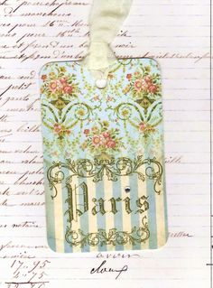 Vintage Style Paris Tags French By Bluebird Lane. $6.00, via Etsy.