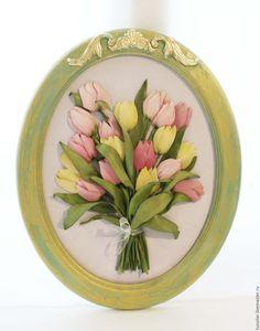 Купить Картина лентами Тюльпаны в бирюзе 40 х 50 см - тюльпаны, букет тюльпанов