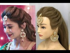Hairstyles For Layered Hair, Easy And Beautiful Hairstyles, Saree Hairstyles, Open Hairstyles, Indian Wedding Hairstyles, Indian Hairstyles For Saree, Tikka Hairstyle, Hairstyle Wedding, Crown Hairstyles