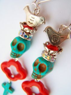 Red & Turquoise Frida Kahlo Earrings Day of the by polishedtwo, $15.00