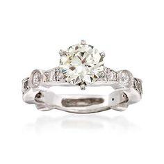 Ross-Simons - C. 2000 Vintage 2.25 ct. t.w. Diamond Ring in Platinum. Size 5.25 - #844442