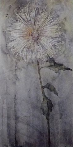 Piet Mondrian - Upright Chrysanthemum (1901)......simply amazing. I like how the picture has a grey tone to it to make it seem more dark.