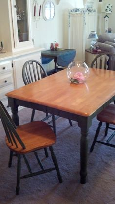 My 10 year old dining room table and chairs after using Annie Sloan Chalk Paint and clear and dark waxes ~ incredible!