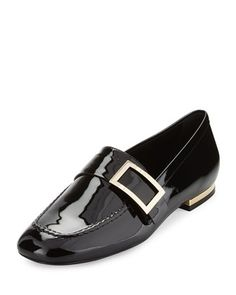 Patent Leather Buckle Loafer, Black by Roger Vivier at Neiman Marcus.