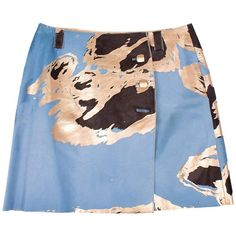 Chanel Calfskin Skirt - light blue/brown/gold    From a collection of rare vintage skirts at https://www.1stdibs.com/fashion/clothing/skirts/