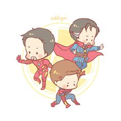 """addignisherlock: """" my fave family avengers team Tony Irondad and Peter Spideyson will soon be available as enamel pins as well :) in the meantime, Dr Strange and BBC Sherlock character pins are now available in My Storenvy """" Avengers Team, Avengers Memes, Marvel Avengers, Superhero Memes, Marvel Funny, Marvel Dc Comics, Strange Family, Spiderman Drawing, Superfamily Avengers"""