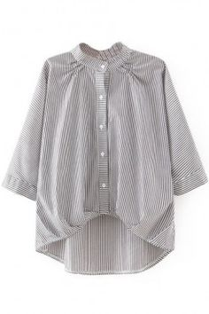 LUCLUC Gray Bow 3/4 Sleeve Turn-down Collar Acetate Strips Blouse