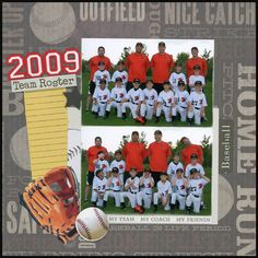 2009 Baseball Team Roster layout by Carolyn Lontin