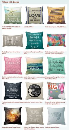 Pillows with Quotes.  Inspirational Throw Pillows and toss cushions for your home. #quote #inspirational