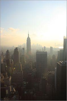 Empire State Bulding, NYC - taken from Rockefeller Center - Sunset, Manhattan Skyline New York City